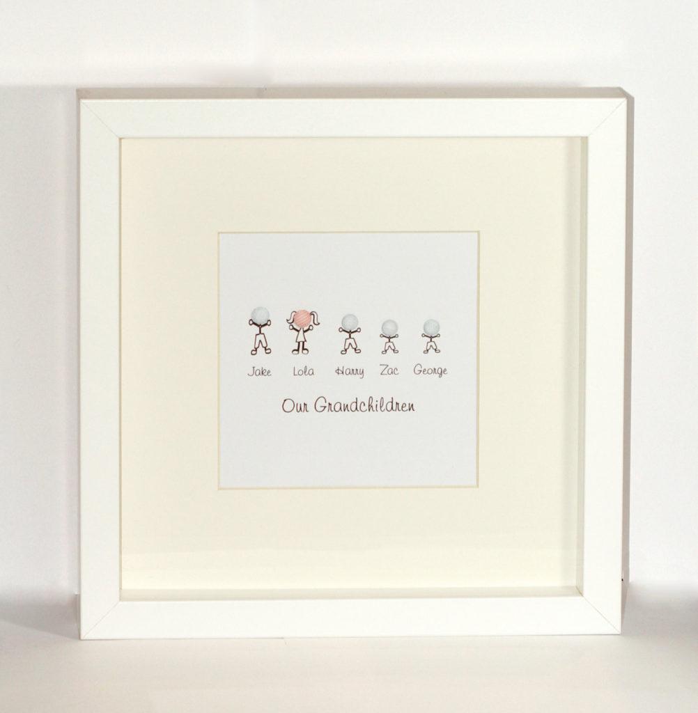 Grandparent gift - Stick / sketch Grandchildren Framed, personalised ...