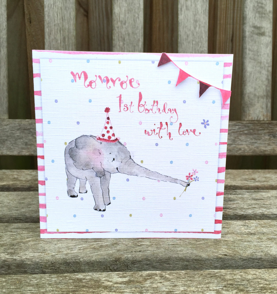 1st Birthday Baby Elephant Card