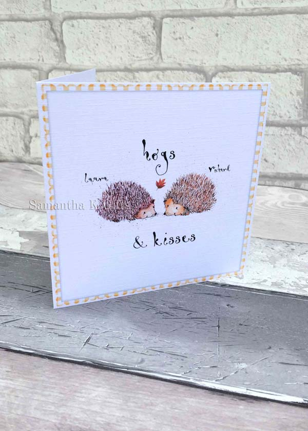 Cute Hedgehog Personalised Birthday Card White Also